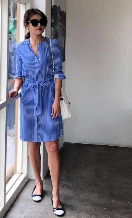 藍白條紋襯衫洋裝