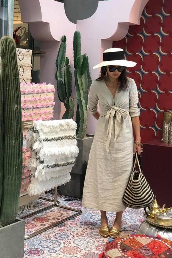 摩洛哥風亞麻原色洋裝