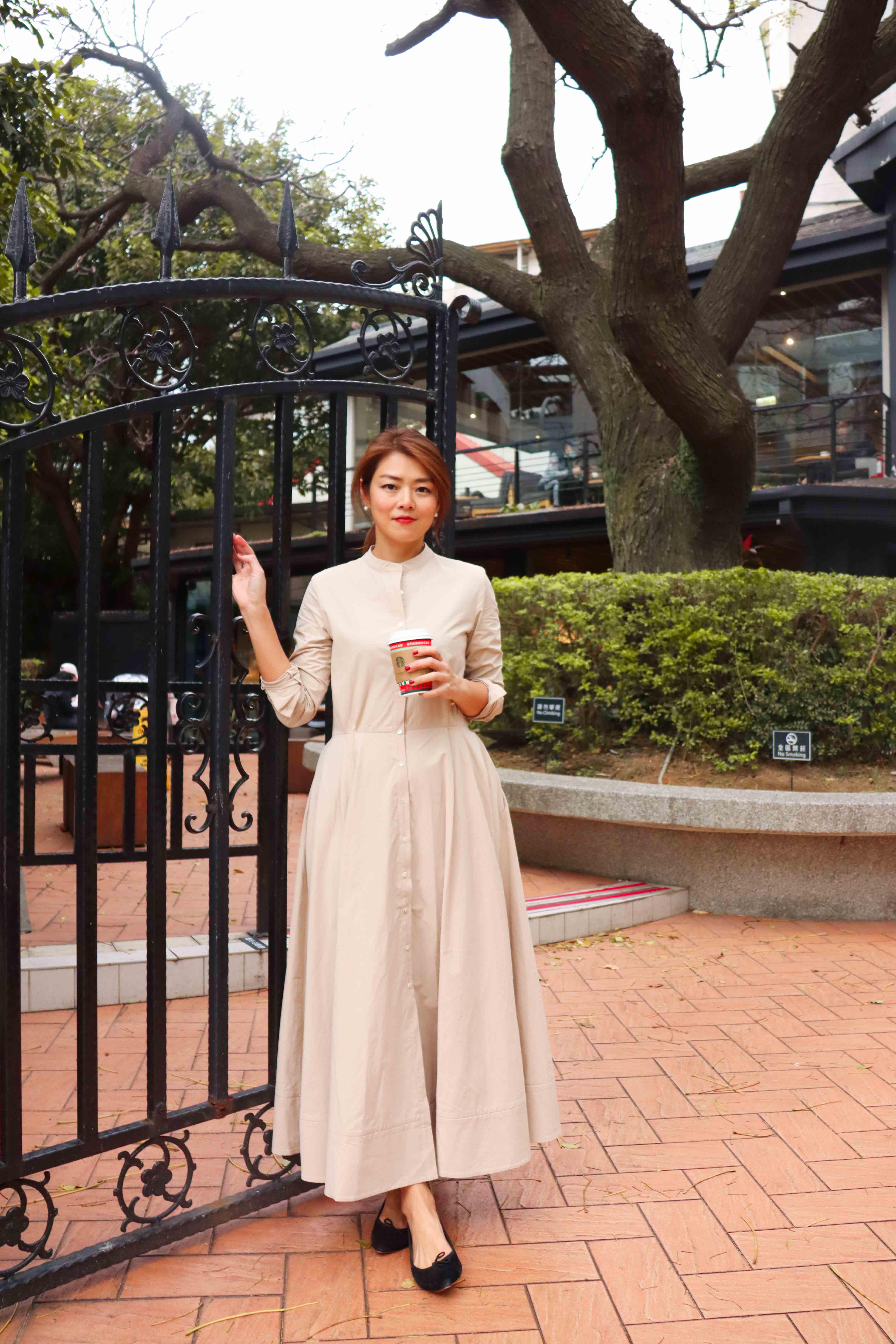 米杏色赫本長洋裝