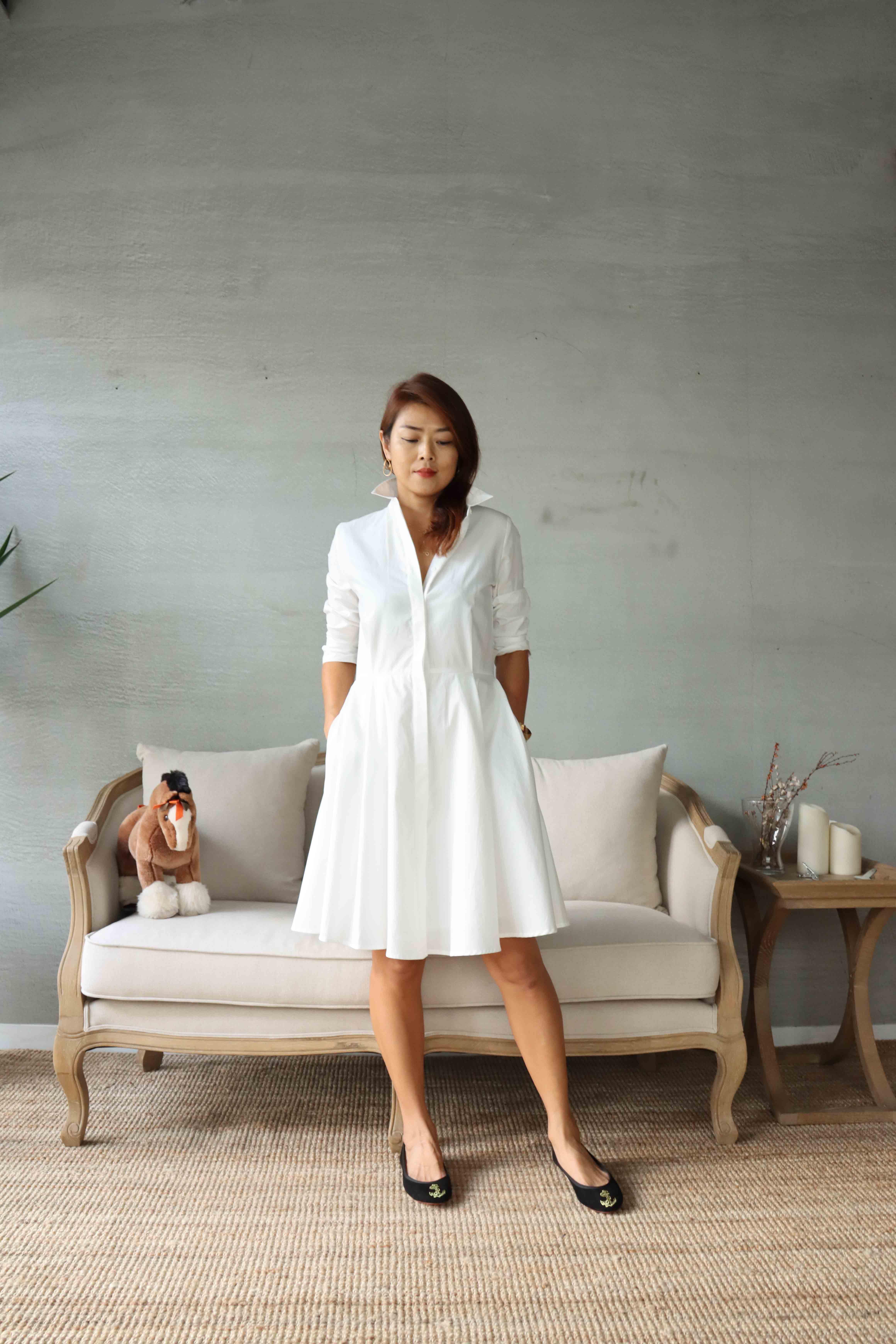 白色赫本短洋裝