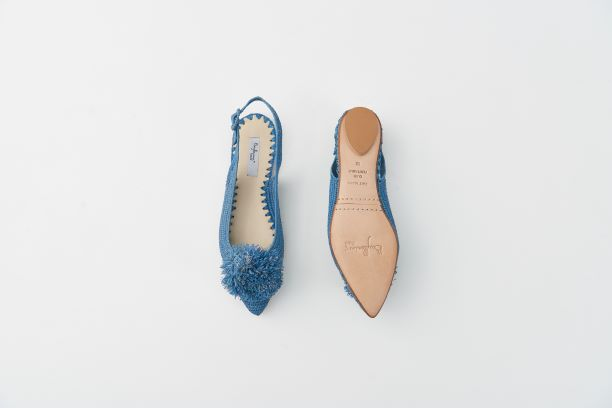 RAFIA 球球草編鞋 藍色