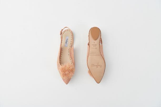 RAFIA 球球草編鞋 鮭魚粉