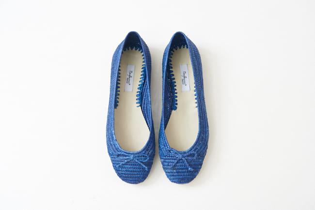 圓頭草編鞋 藍色