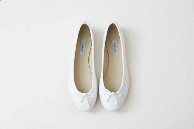 小羊皮圓頭芭蕾舞鞋 棉花白