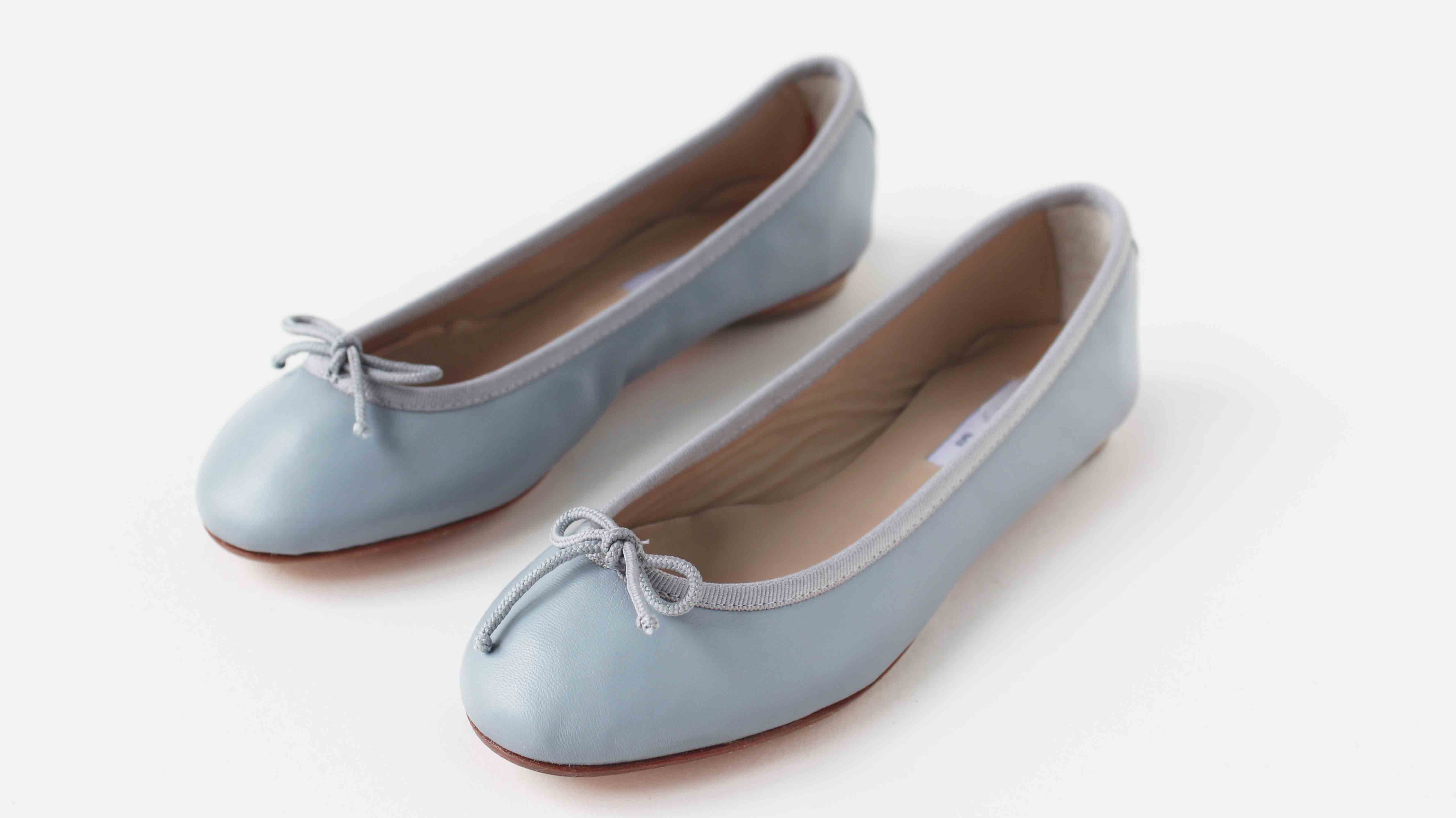 小羊皮圓頭芭蕾舞鞋 冷灰