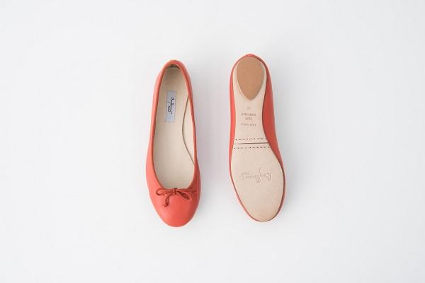 小羊皮圓頭芭蕾舞鞋 橘紅
