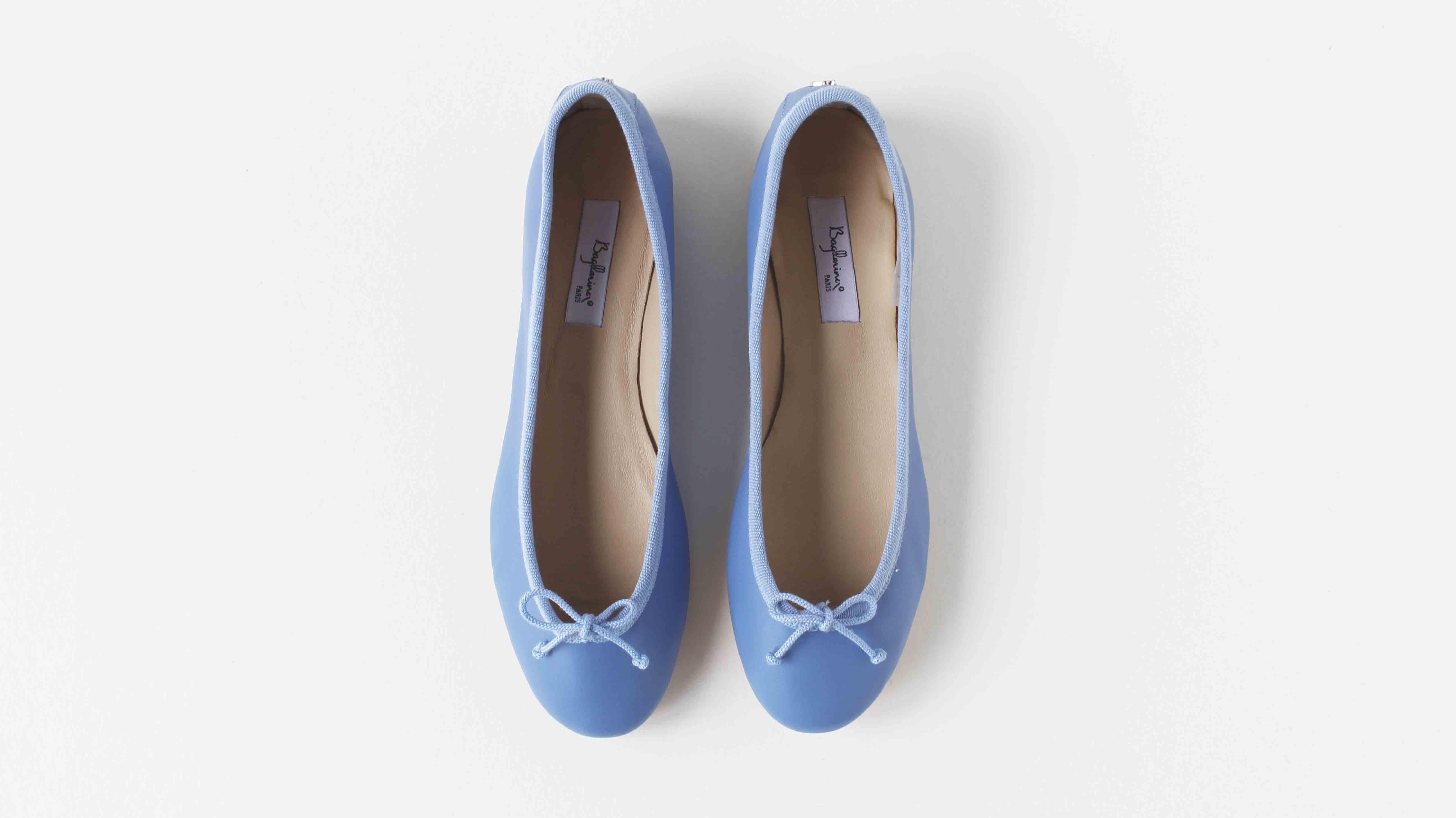 小羊皮圓頭芭蕾舞鞋 青花籃