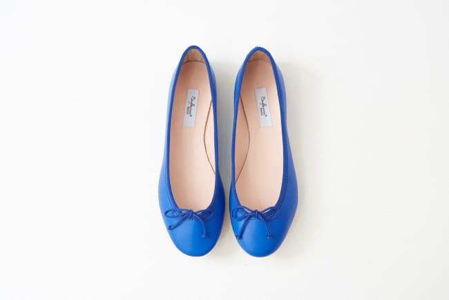 小羊皮圓頭芭蕾舞鞋 地中海藍