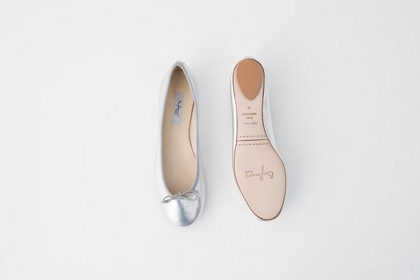小羊皮圓頭芭蕾舞鞋 銀