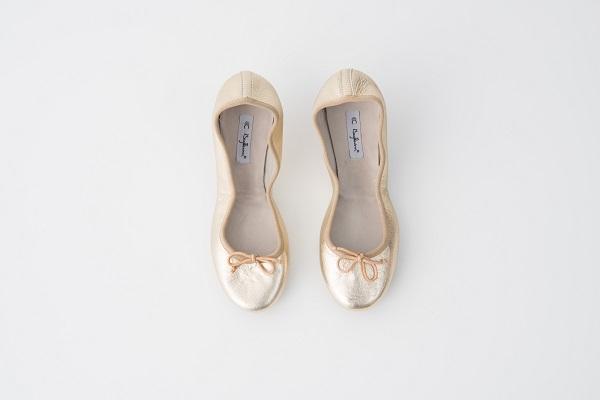 小羊皮圓頭芭蕾舞鞋 金