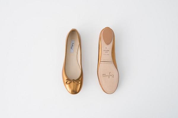 小羊皮圓頭芭蕾舞鞋 古銅金