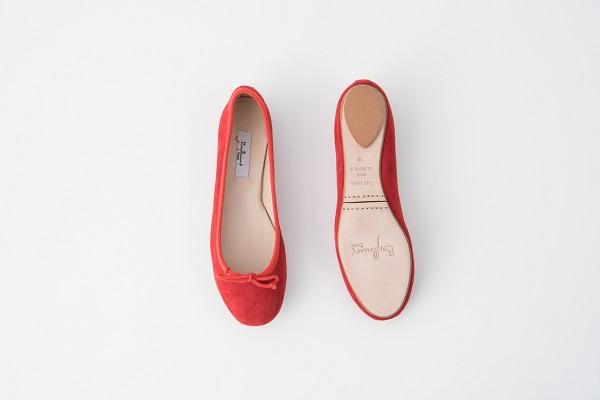 麂皮圓頭芭蕾舞鞋 正紅