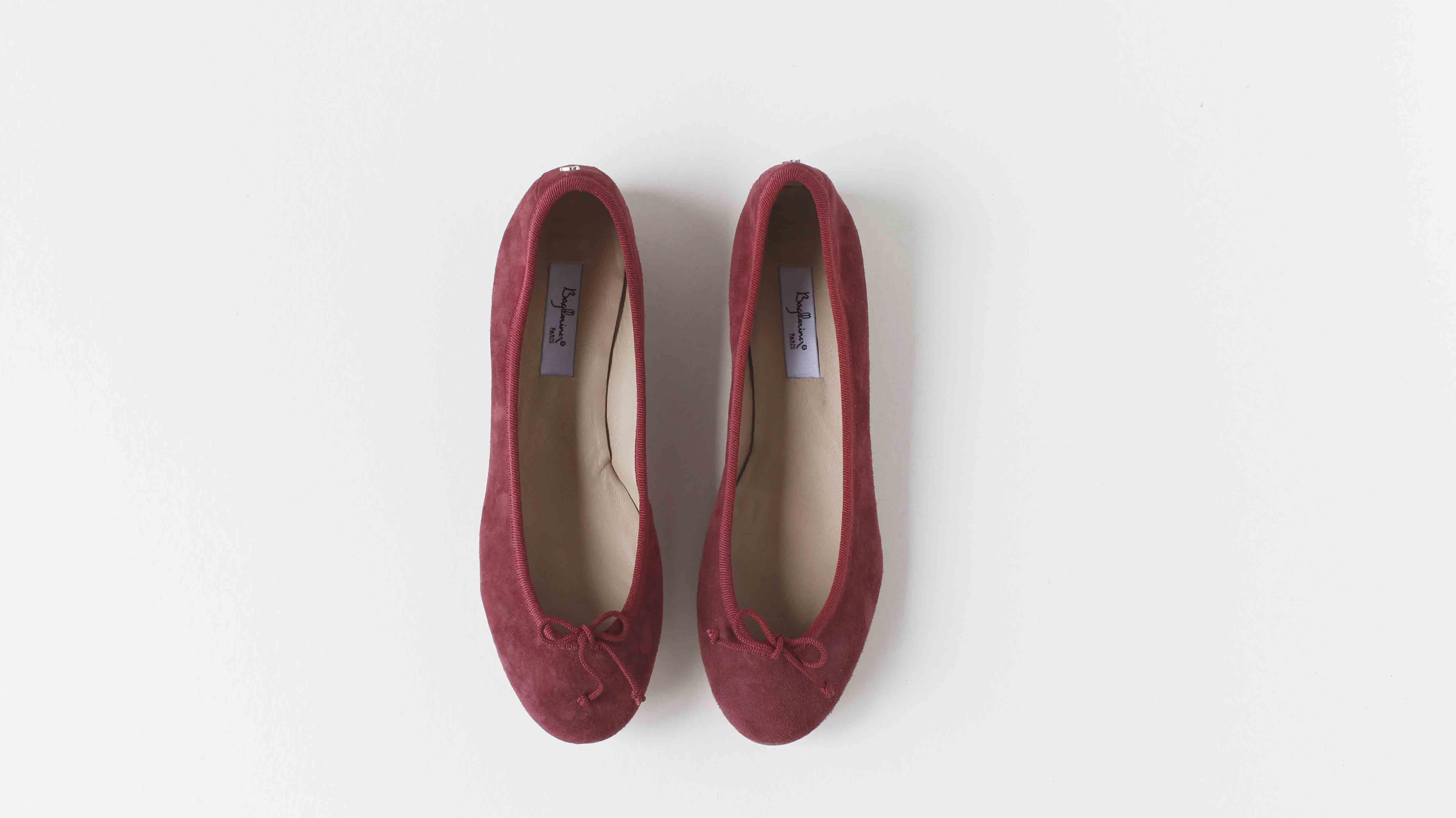 麂皮圓頭芭蕾舞鞋 覆盆子