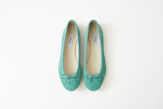 麂皮圓頭芭蕾舞鞋 巴西里綠