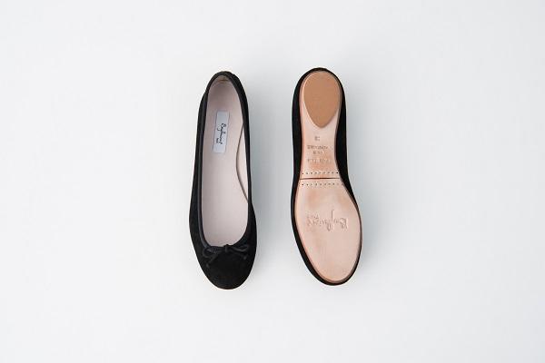 麂皮圓頭芭蕾舞鞋 黑色