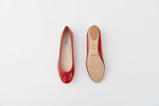 漆皮圓頭芭蕾舞鞋 紅色
