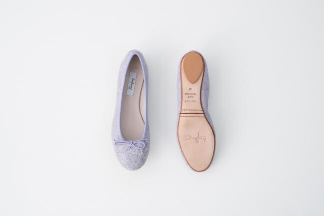 特殊皮紋圓頭芭蕾舞鞋 紫色