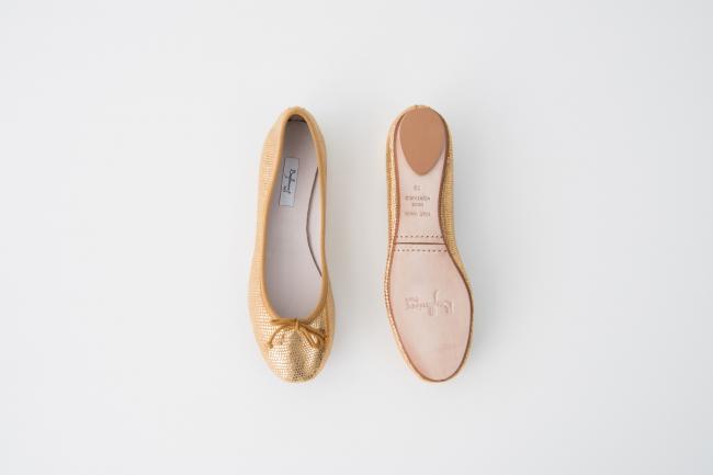 特殊皮紋圓頭芭蕾舞鞋 黃金