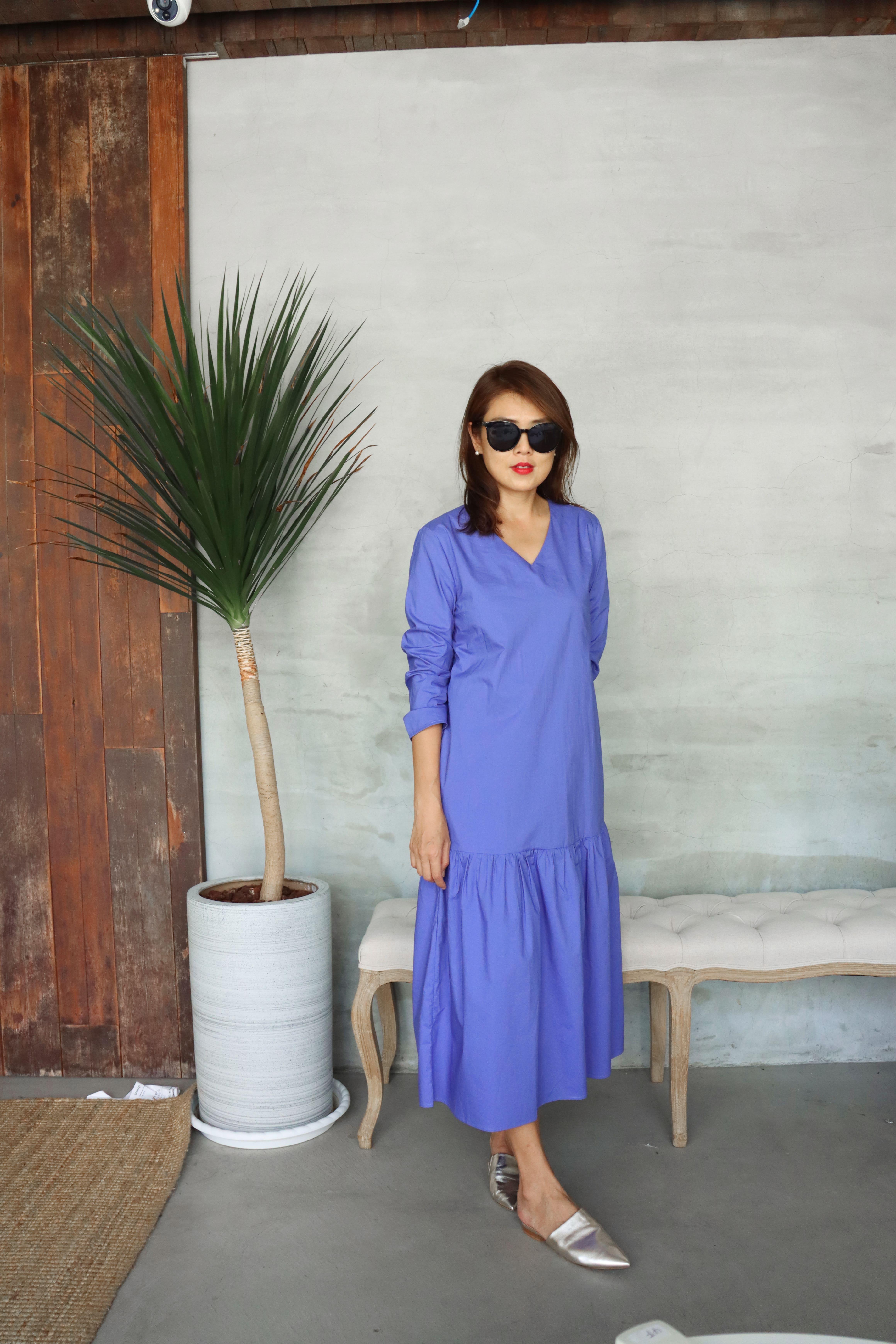 純棉V領藍莓洋裝
