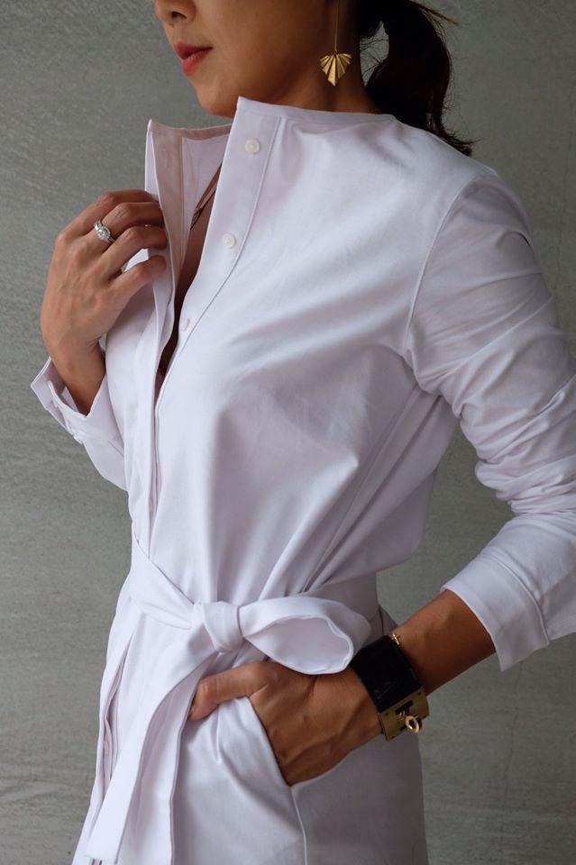 牛津棉亨利領襯衫洋裝
