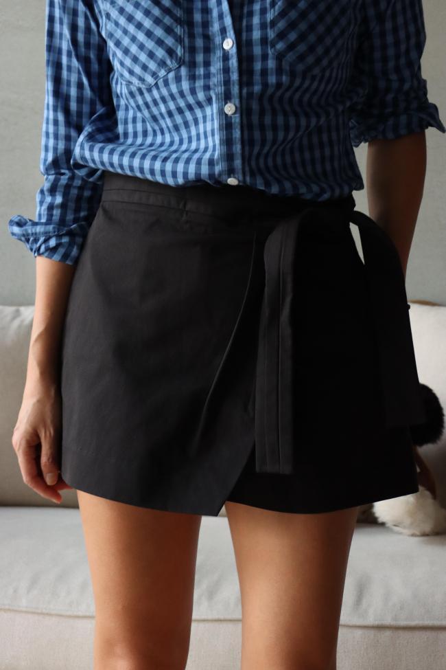 純棉綁帶短褲裙