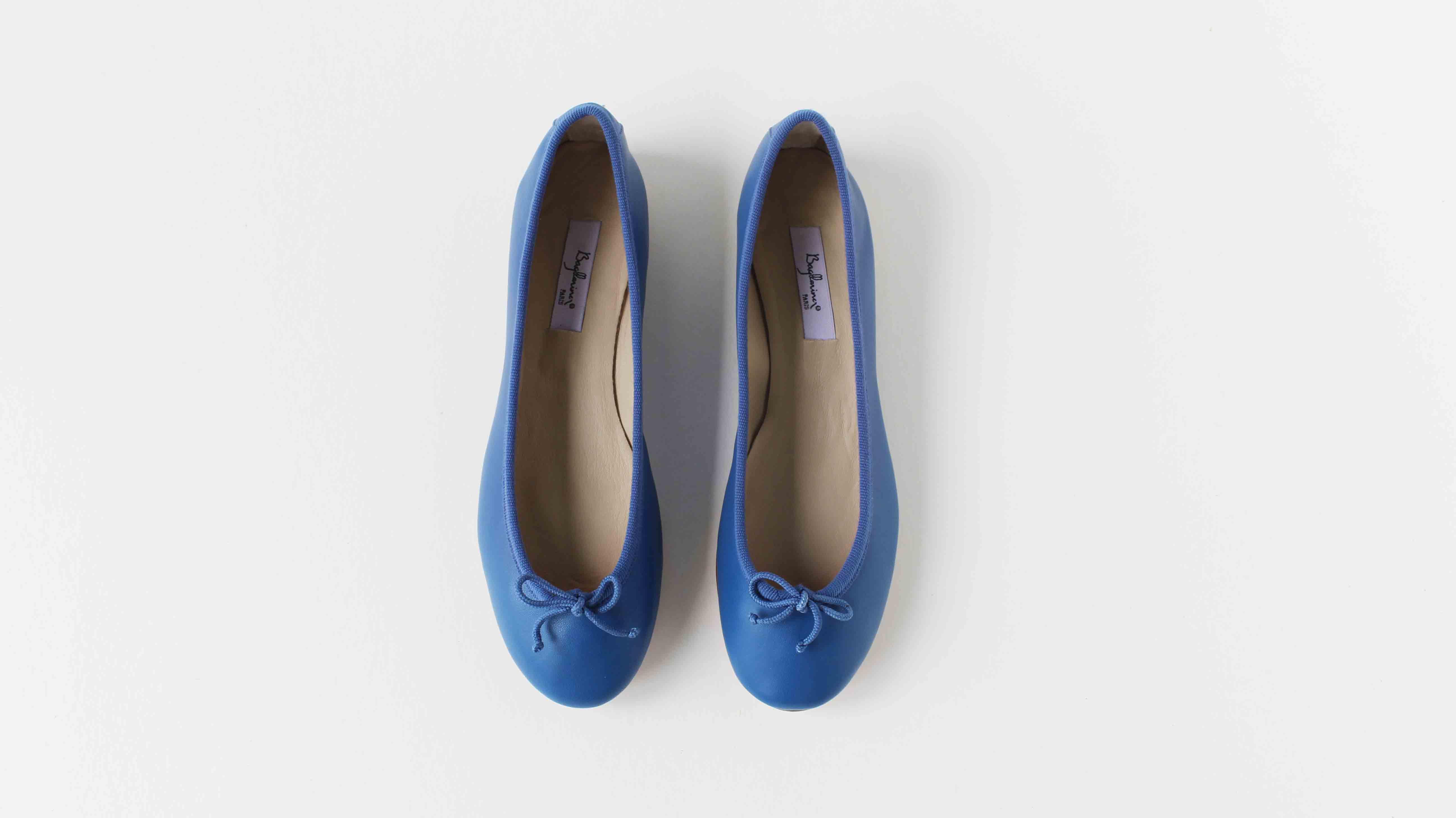 小羊皮圓頭芭蕾舞鞋 靛藍
