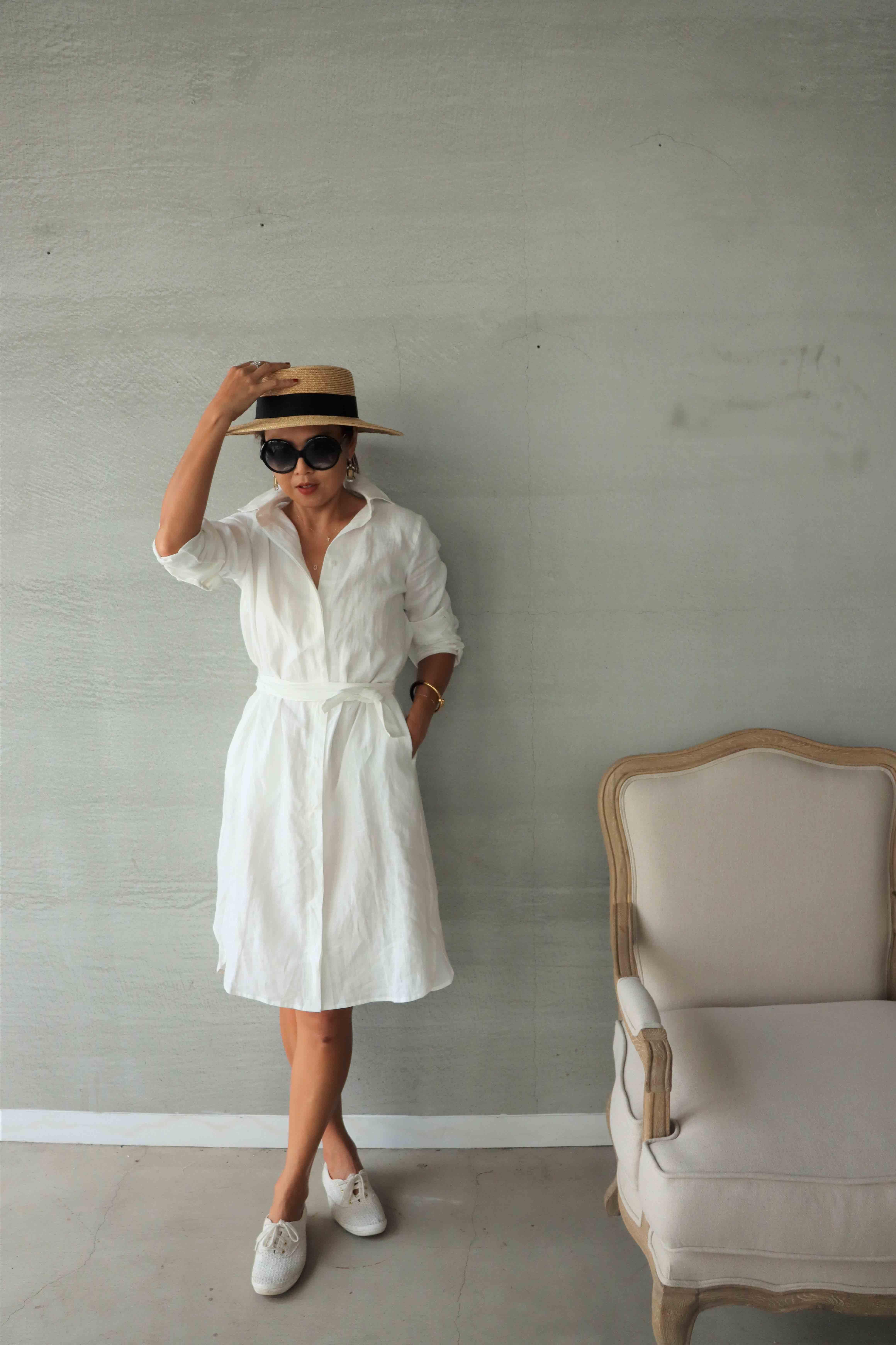 亞麻襯衫洋裝