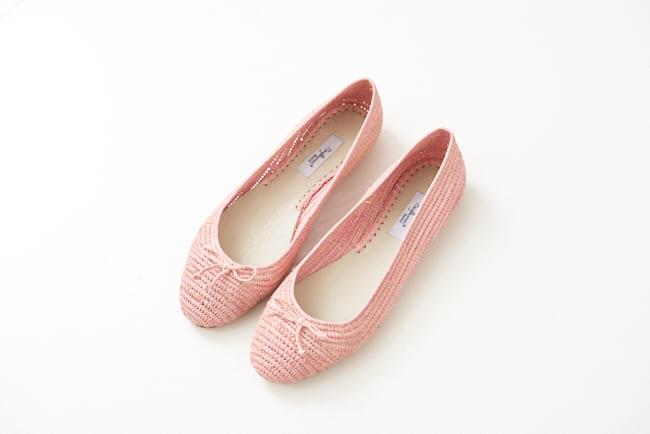圓頭草編鞋 鮭魚粉