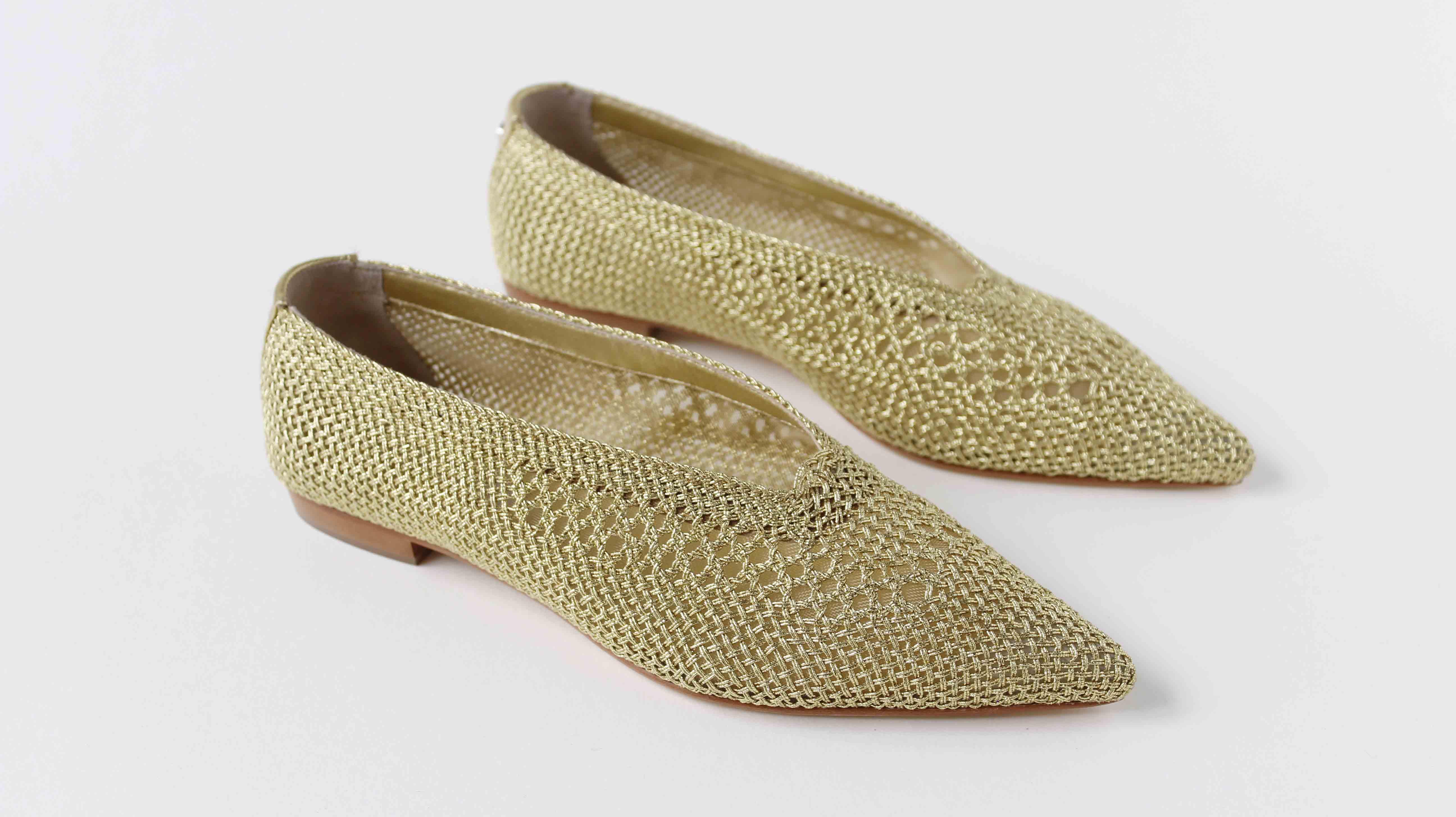 宮廷尖頭編織平底鞋