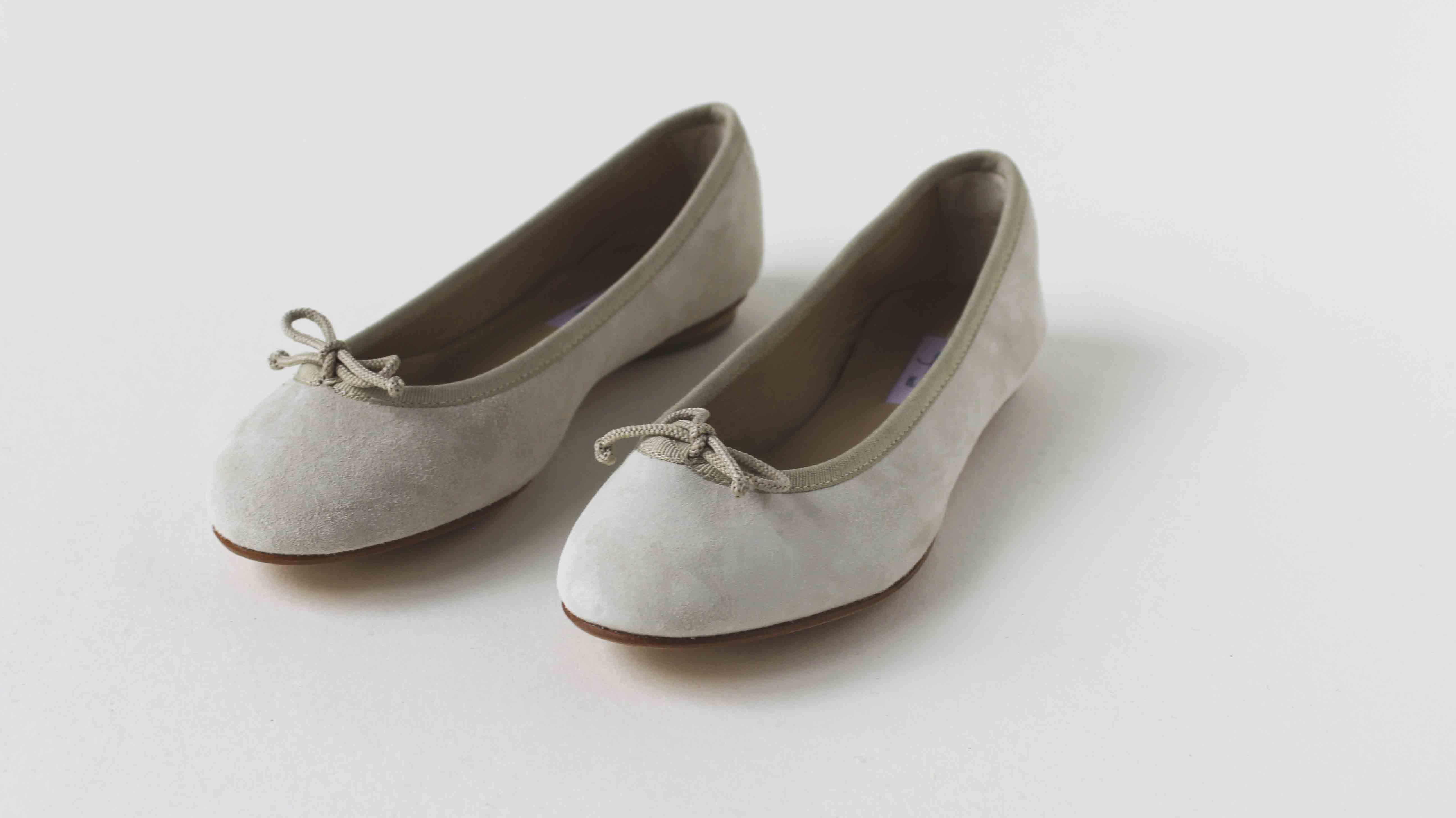 麂皮圓頭芭蕾舞鞋 新雲朵灰