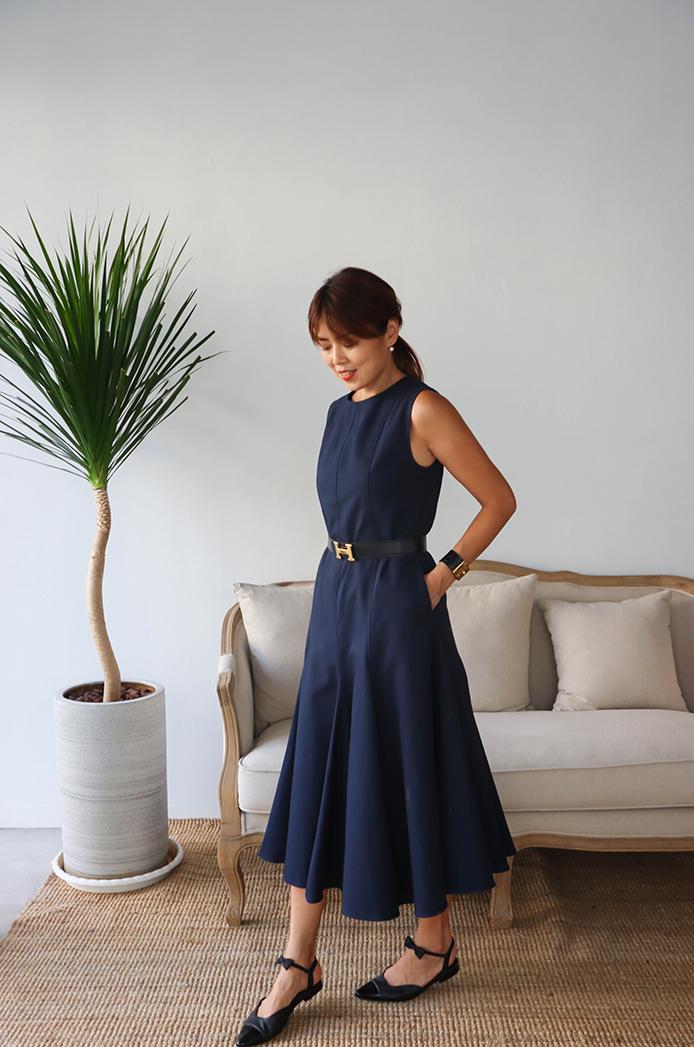 Miss Kate 落落大方 海洋藍色挺版洋裝