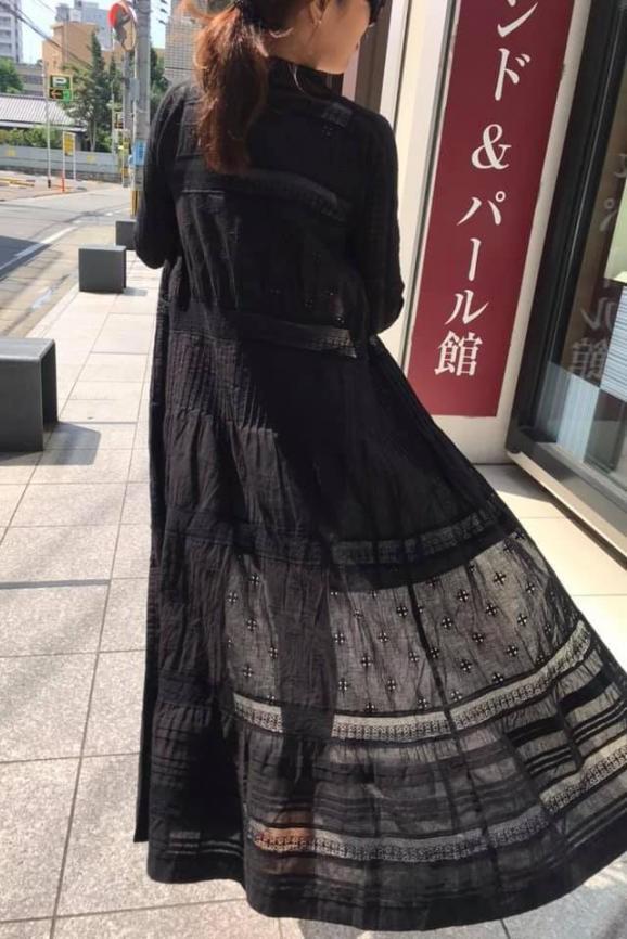波西米亞風蕾絲繡花長袖洋裝
