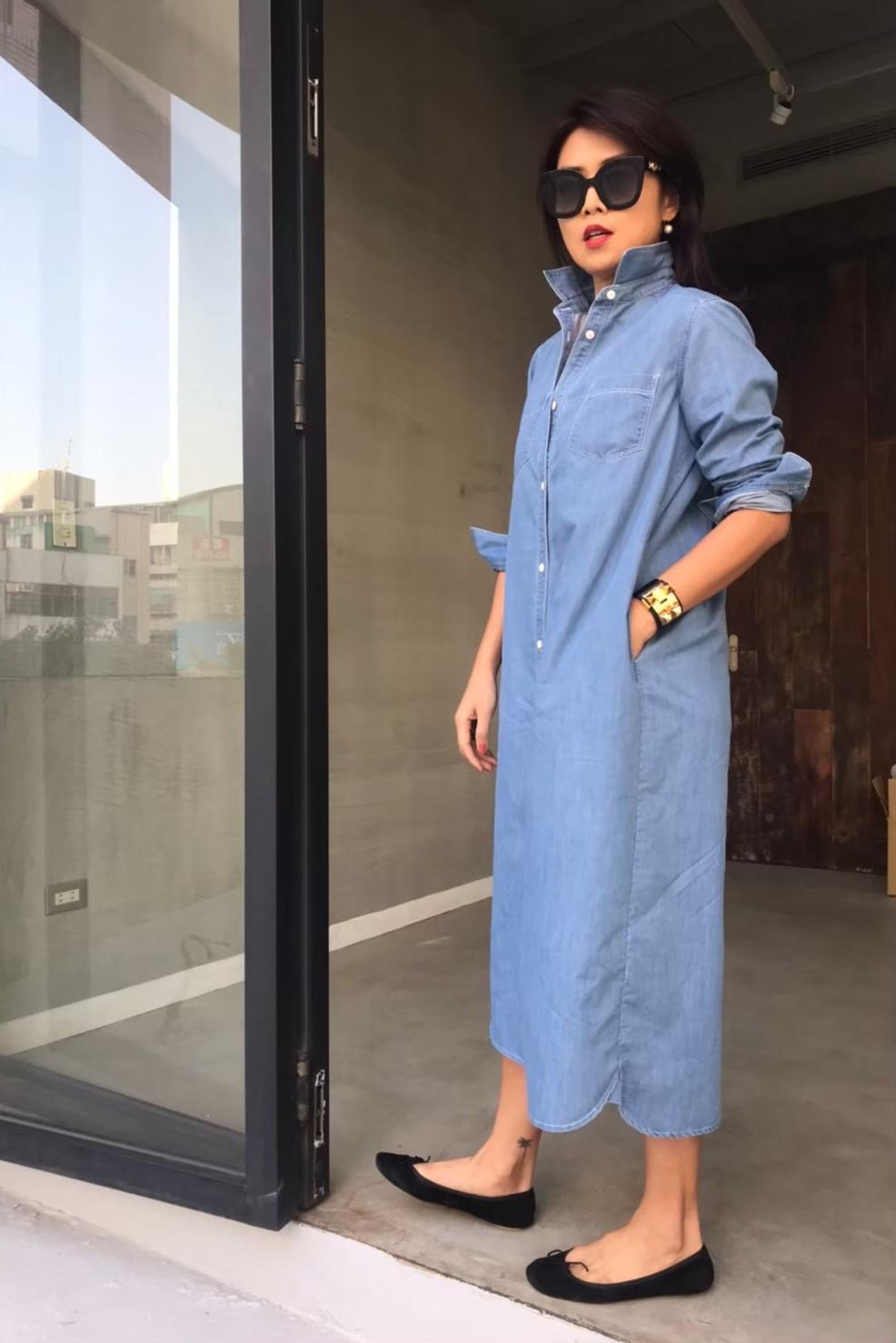 丹寧長版襯衫洋裝