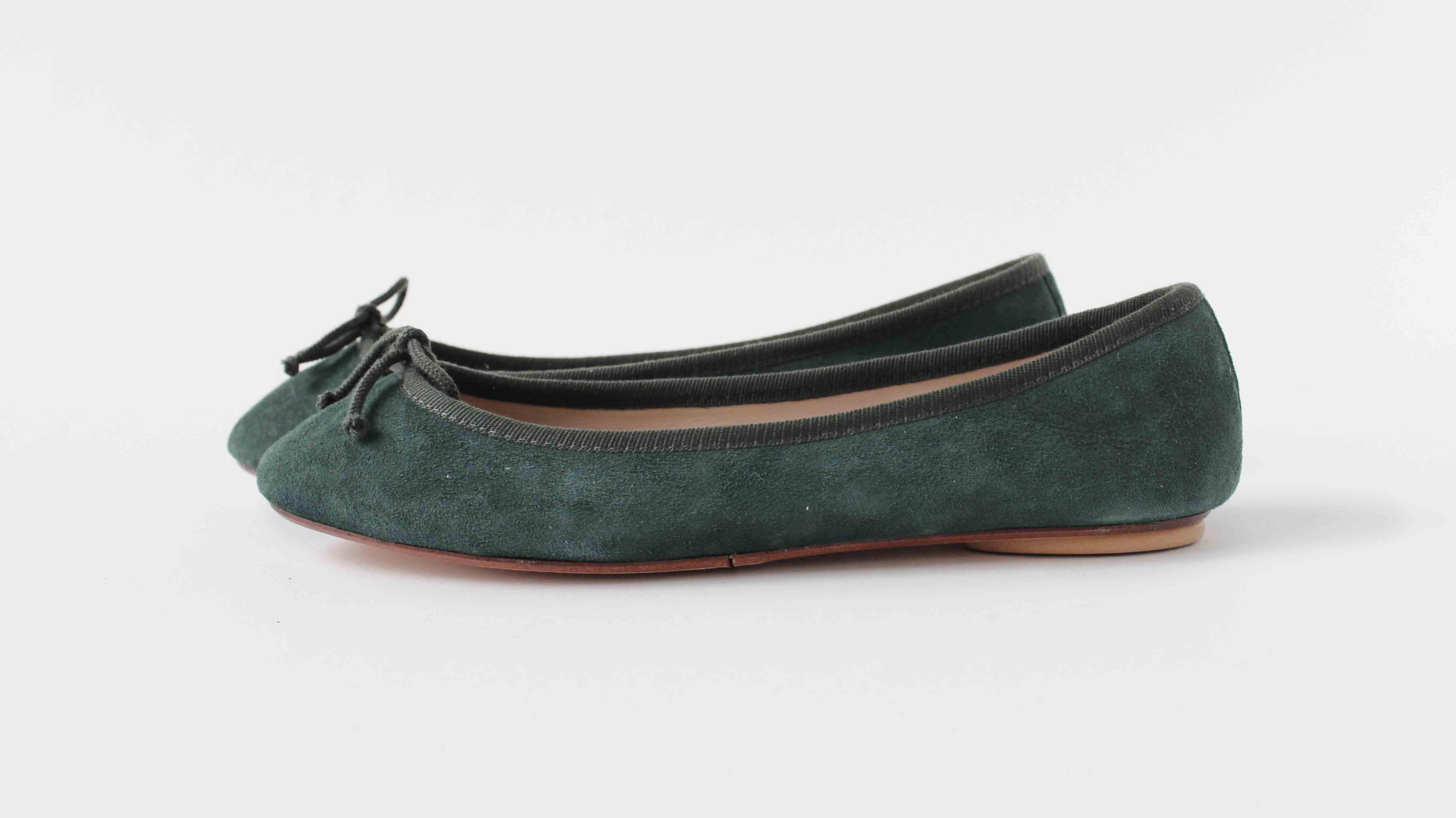 麂皮圓頭芭蕾舞鞋 墨綠