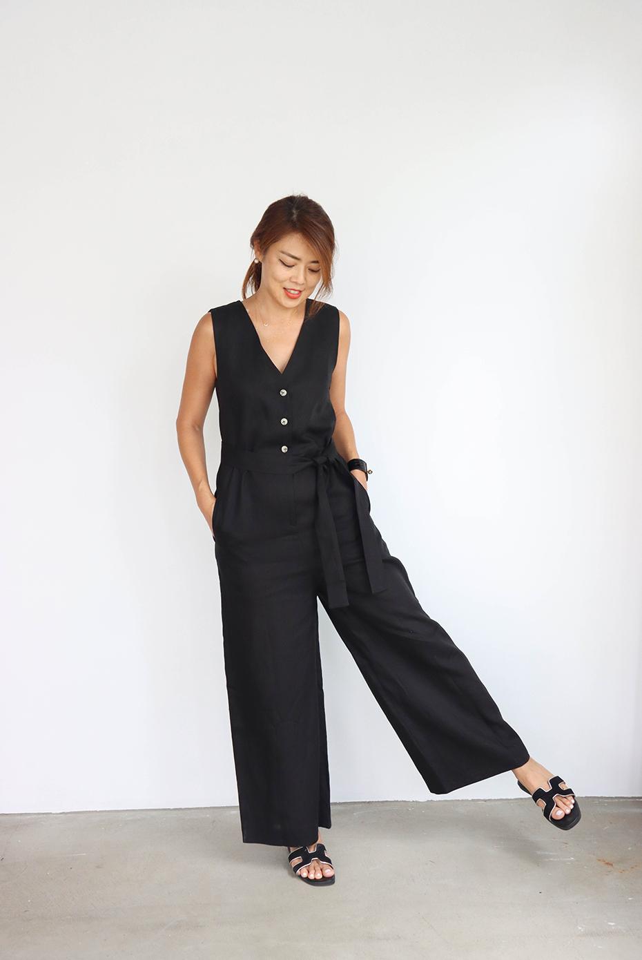 黑色亞麻排釦連身褲