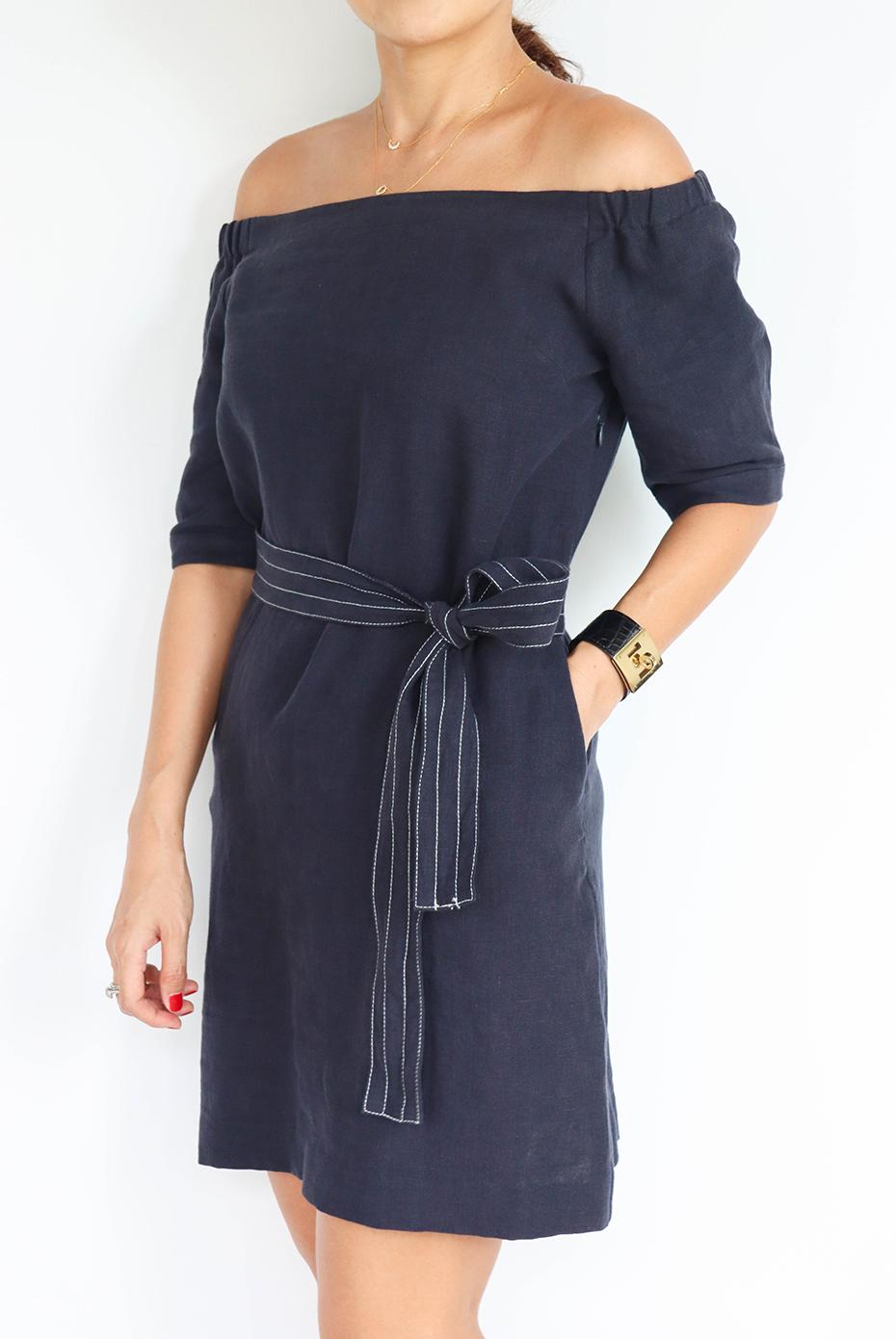 亞麻一字領綁帶洋裝