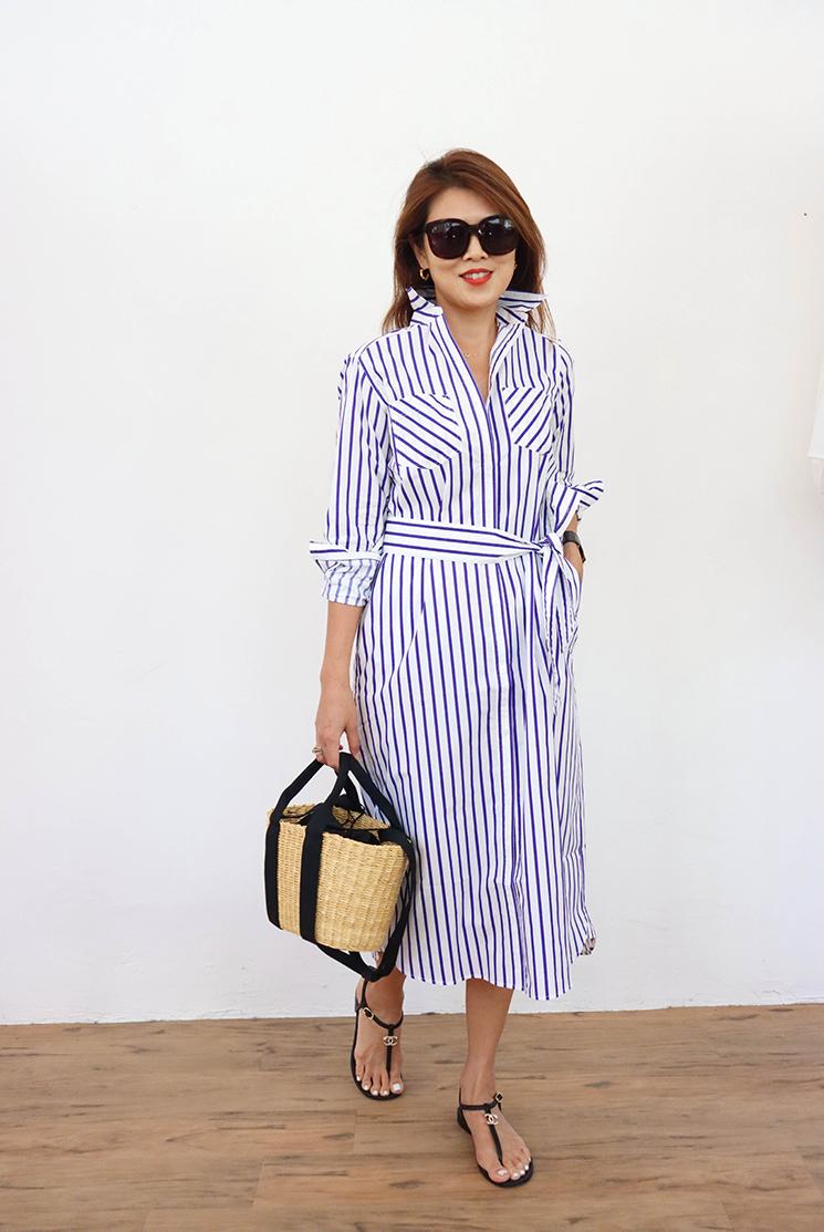 Madison 經典藍條紋長襯衫洋裝