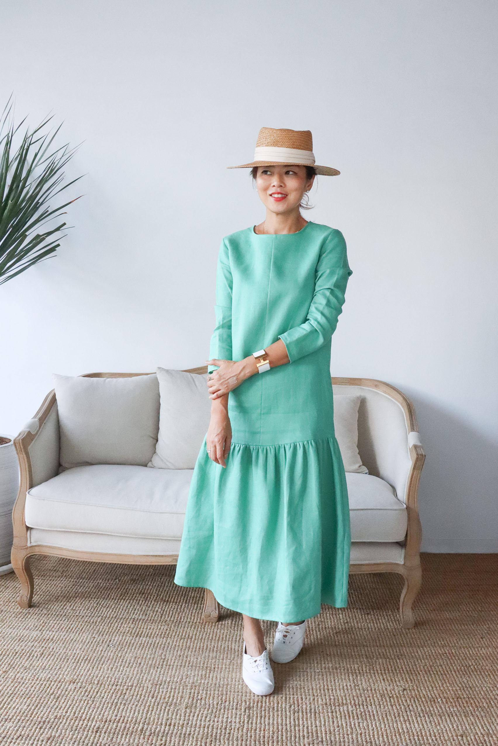 夏日散策亞麻口袋洋裝 - 綠
