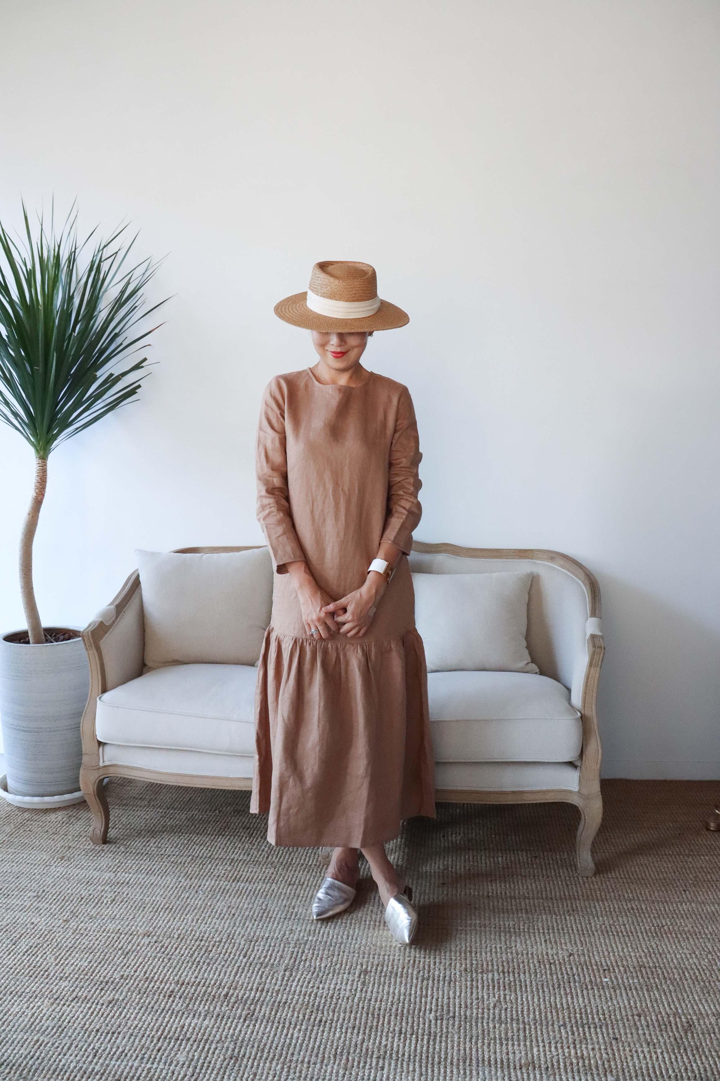 Jasmine夏日散策亞麻口袋洋裝 - 咖