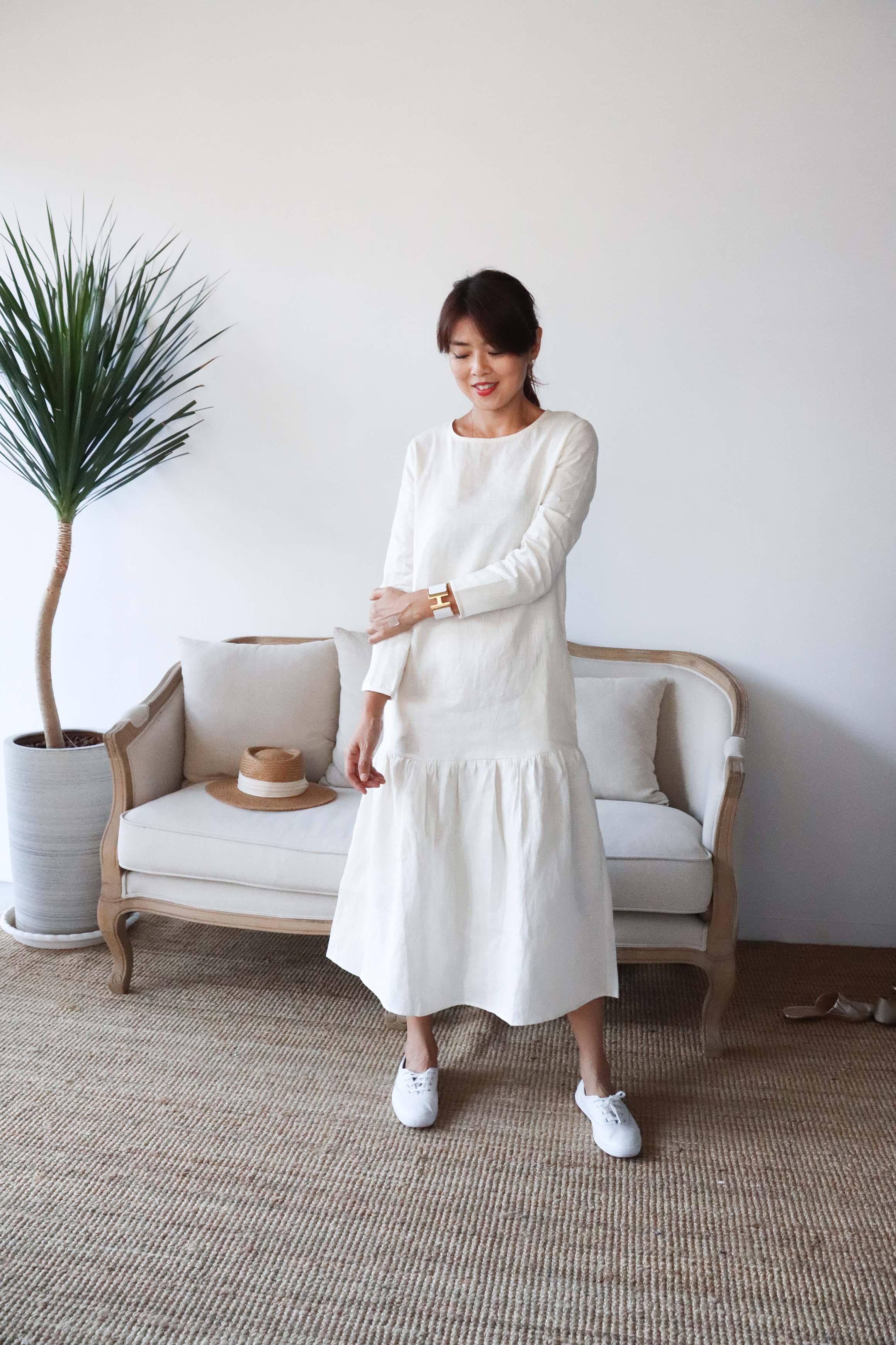 夏日散策亞麻口袋洋裝 - 米
