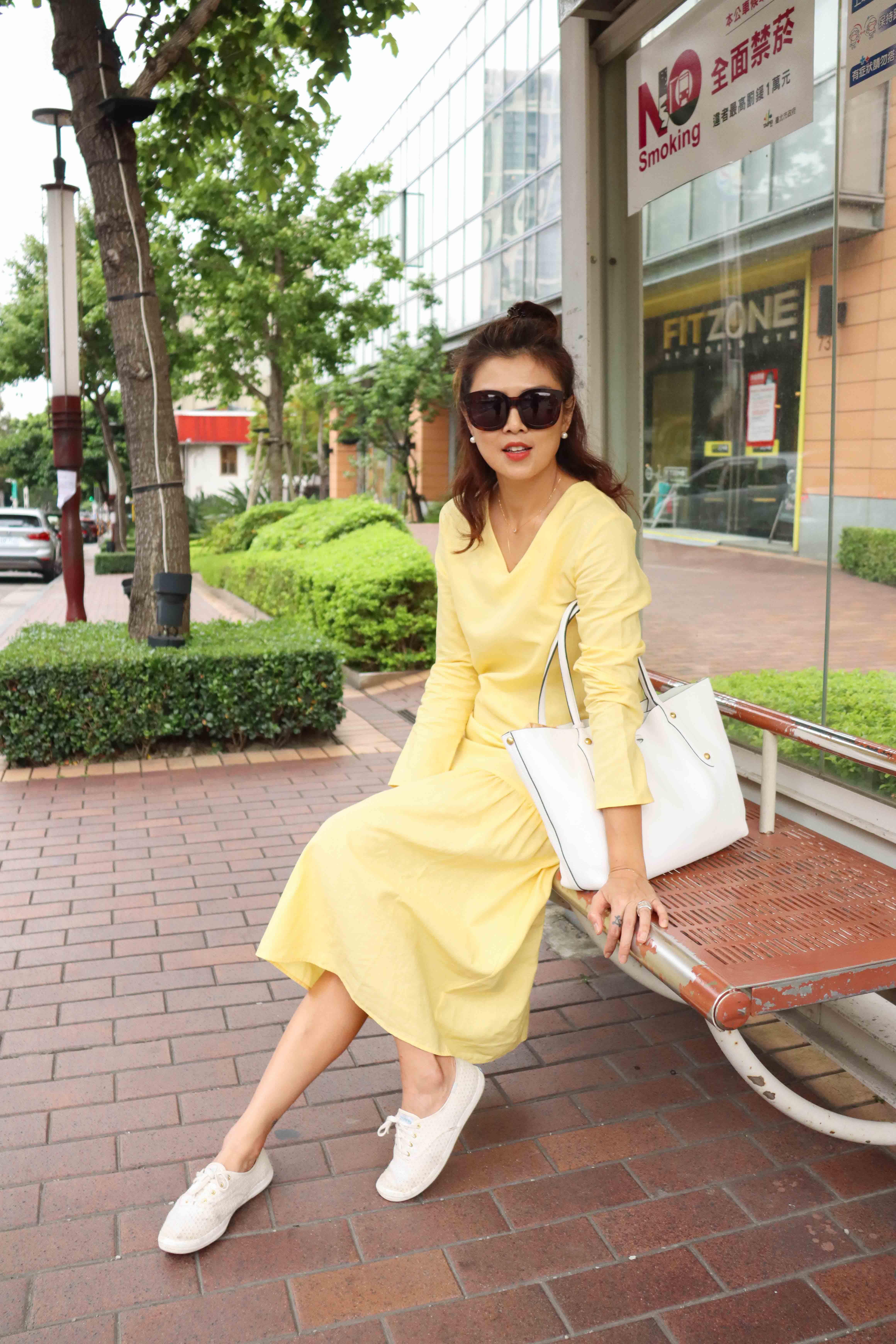 仲夏節亞麻洋裝 - 淺黃