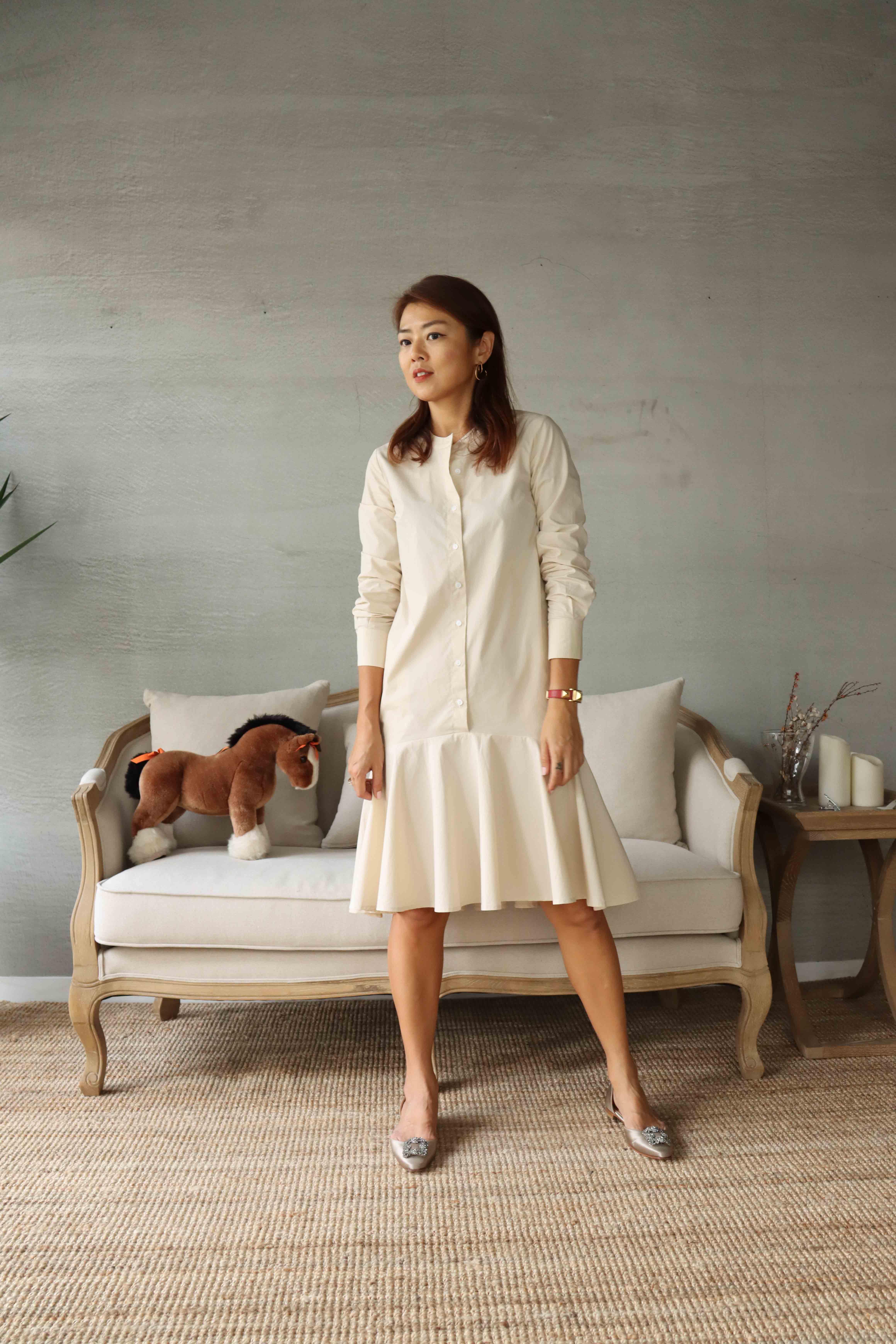 圓領長袖短洋裝 - 米