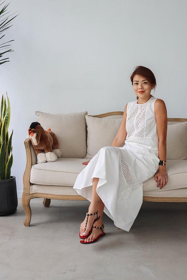 Angel純棉布蕾絲洋裝 - 白