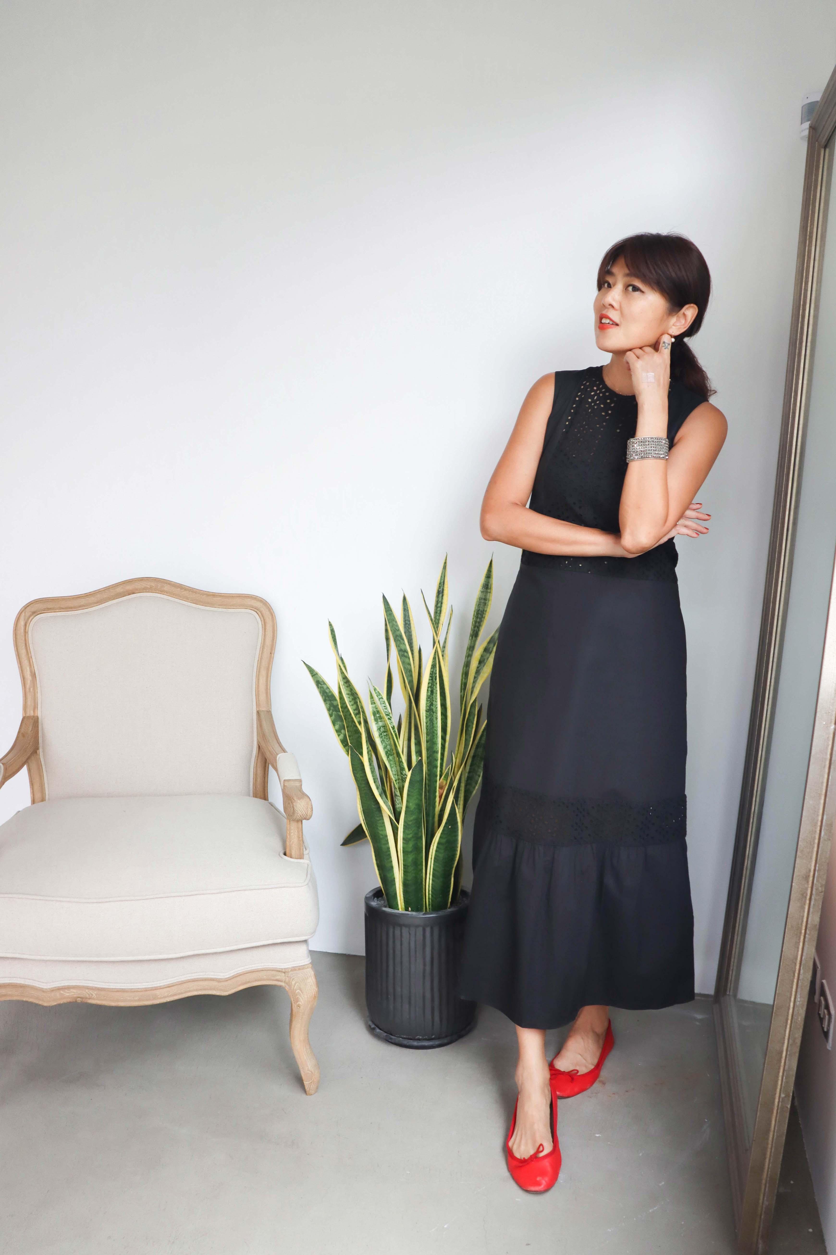Angel純棉布蕾絲洋裝 - 黑