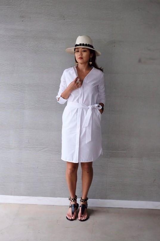 牛津棉亨利領襯衫洋裝 - 白