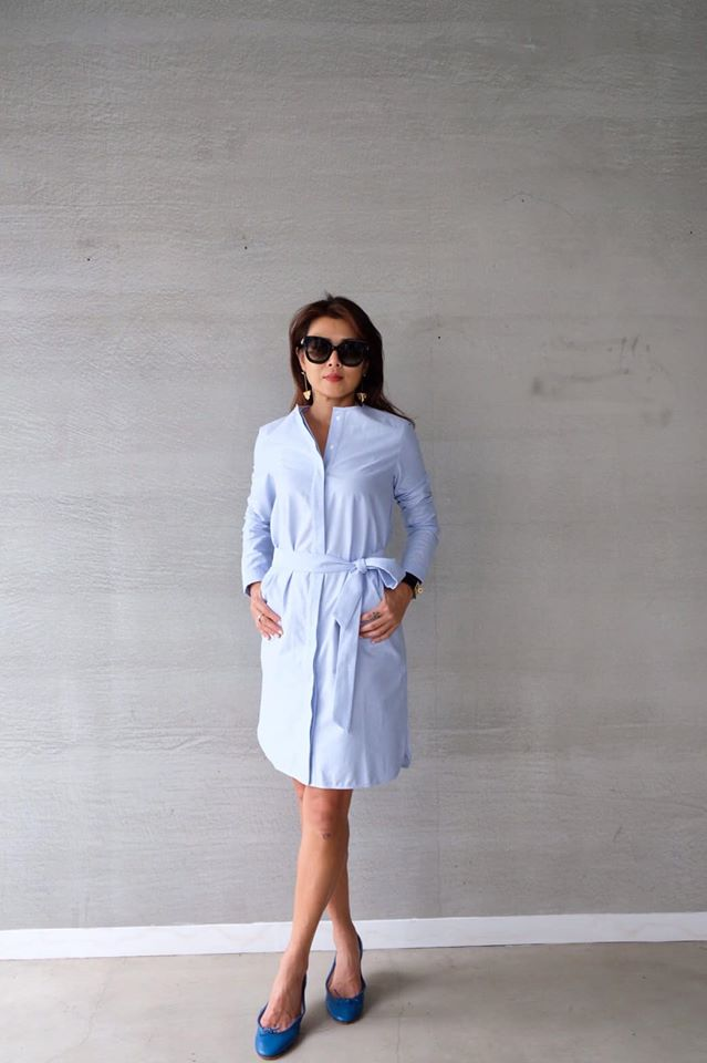 牛津棉亨利領襯衫洋裝 - 淺藍