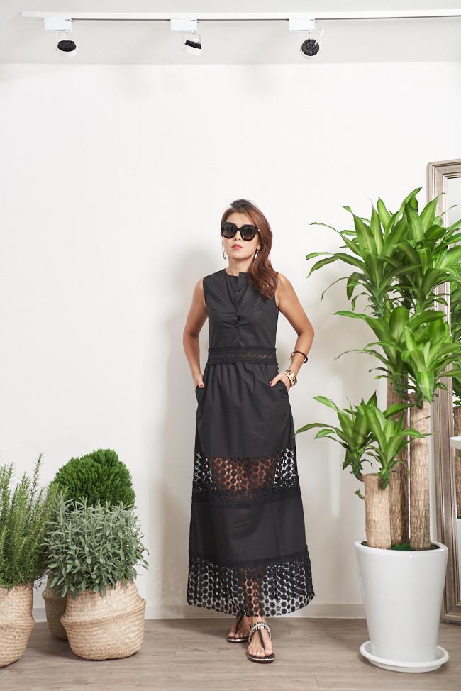 無袖前開釦蕾絲拼接長洋裝 - 黑