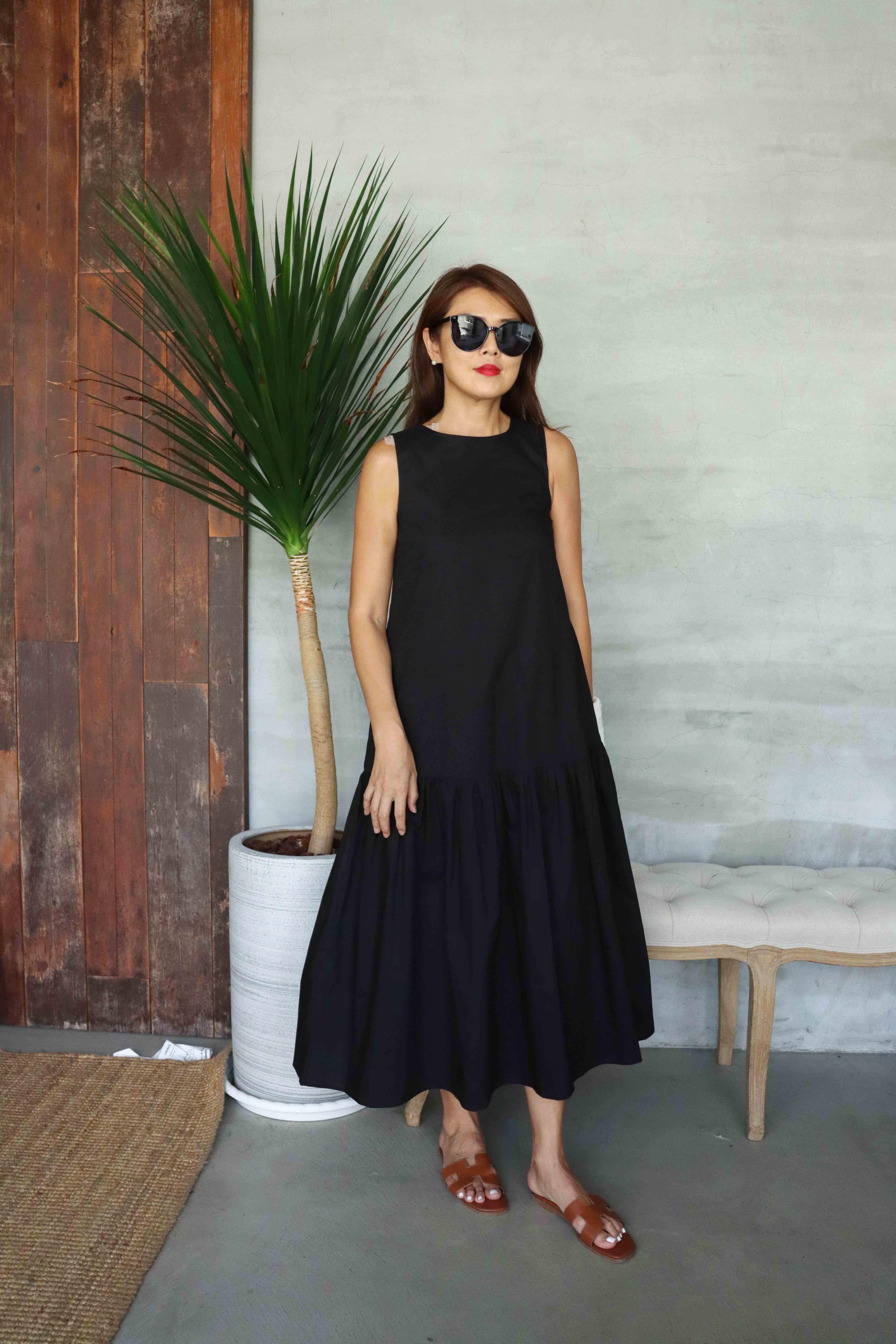 Bella貝拉自在純棉洋裝 - 黑