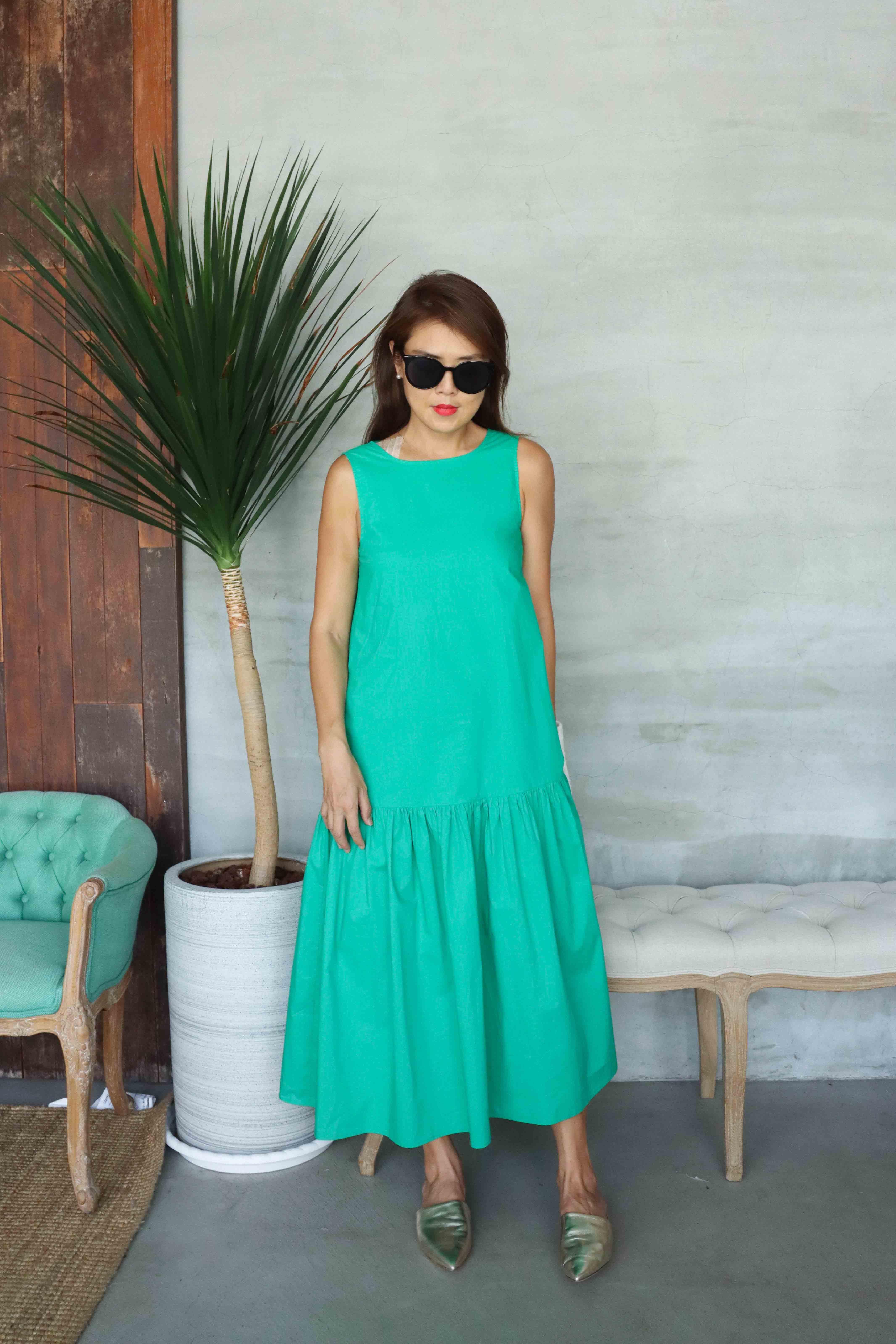 Bella貝拉自在純棉洋裝 - 綠