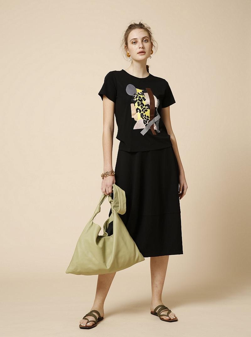 抽象圖案假2件式洋裝